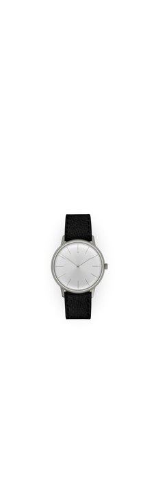 Dress Watch, Silver, Silver Dial, Black Deerskin Leather
