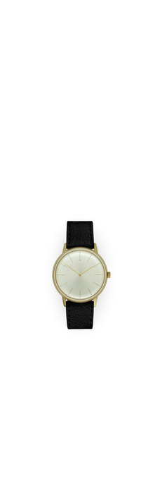 Dress Watch, Gold, Champagne Dial, Black Deerskin Leather