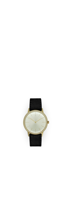 Dress Watch, Gold, Champagne Dial, Black Vegan Leather